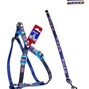 "Fekrix 4 Flags Nylon Leash And Harness 15mm 48"" 16-24 Inch"