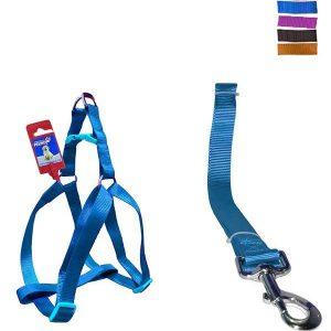 """Fekrix 1 Plain Dog Leash And Harness 10mm 48"""" 12-16 Inch"""