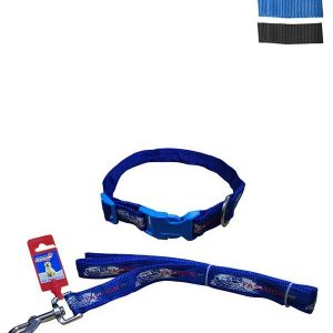 """Fekrix Map Nylon Collar And Leash For Dogs 25mm 48"""" 20 Inchs"""