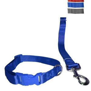"""Fekrix 1 Thick Plain Nylon Leash & Collar For Dogs 25mm 48"""" 20 Inch"""