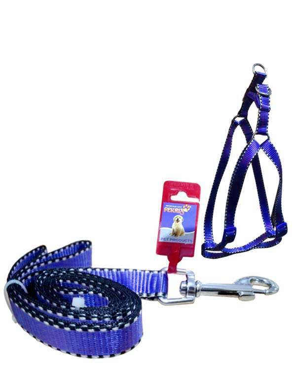 """Fekrix 2 White Line Leash And Harness 25mm 48"""" 22-32 Inch"""